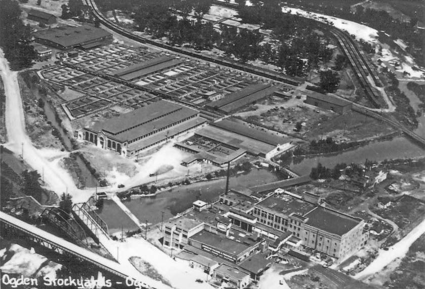 Ogden Union Stockyards aerial view. Special Collections Department, Stewart Library, Weber State University