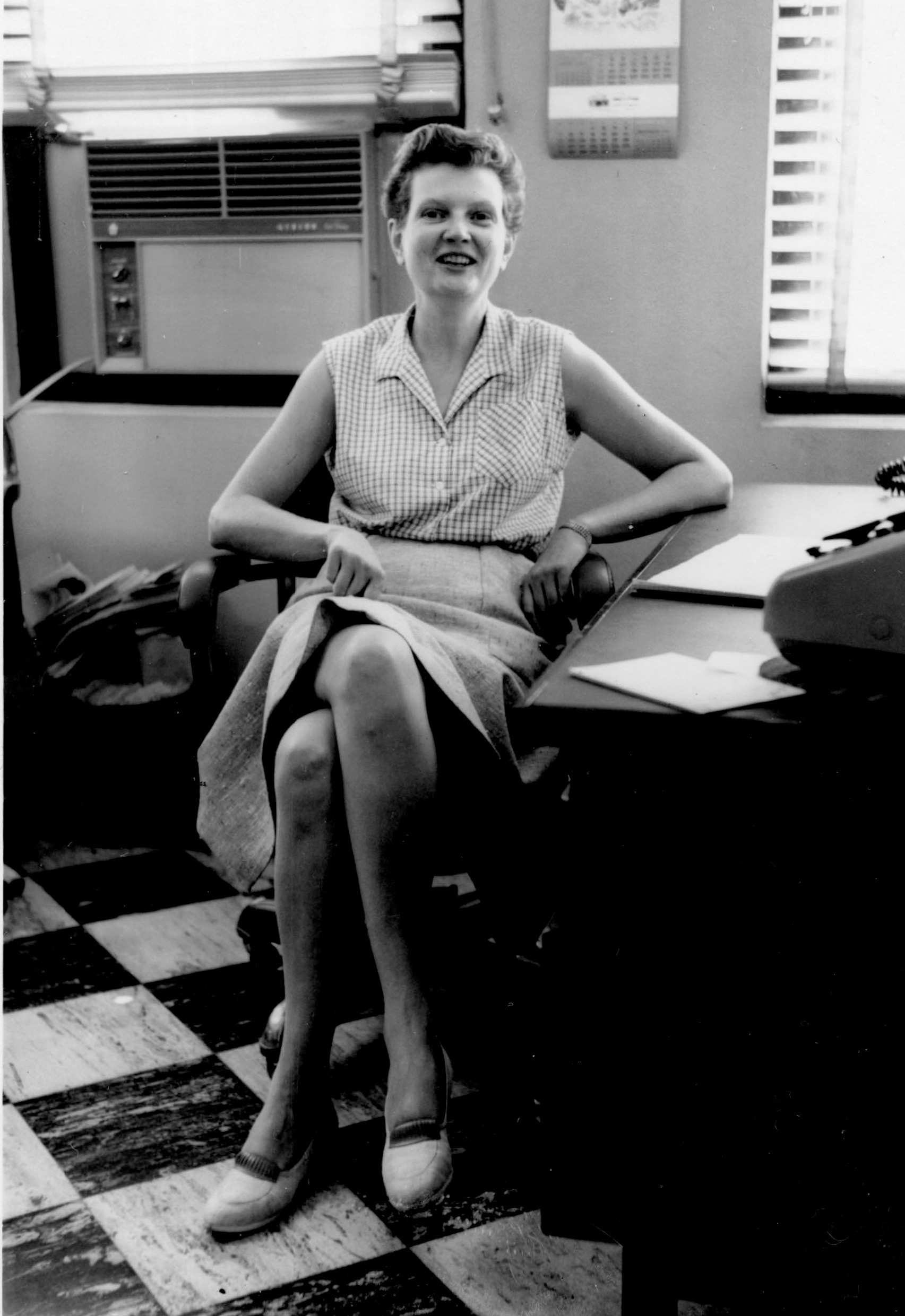 Alice Petersen here at work (probably later at GSL Corp.) She she was mouthing off a little to guys in the office when this pic was taken. photo from the Alice Petersen estate collection digitized by www.Evalogue.Life - Tell Your Story, in 2017