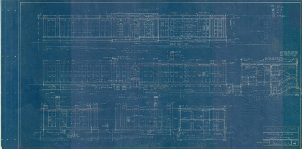 Blueprint for the Ogden Union Stockyards Exchange Building by Hodgson and McClenhan. Special Collections Department, Stewart Library, Weber State University