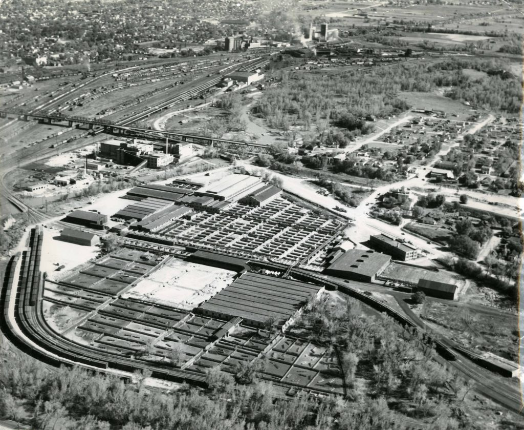 1940 Aerial of the Ogden Union Stockyards and Union Pacific Rail. Special Collections Department, Stewart Library, Weber State University