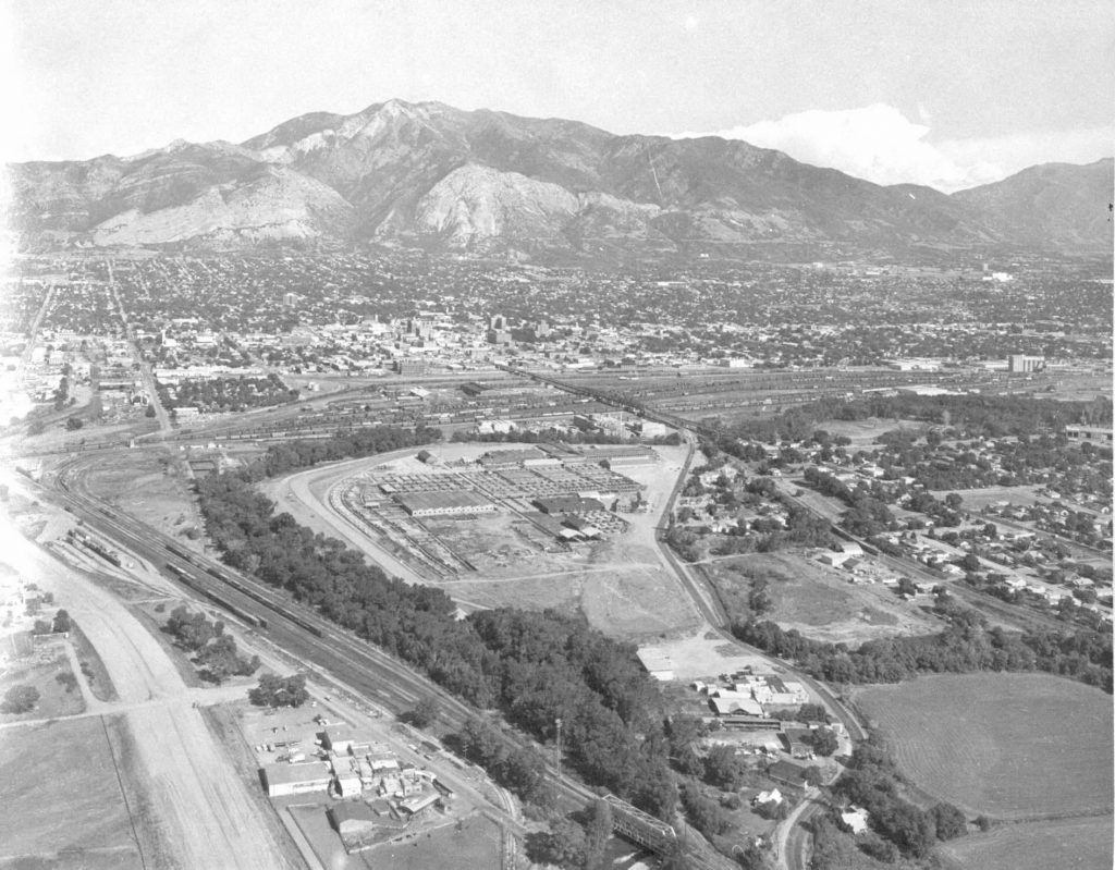 1940 to 1950 aerial view of the Ogden Union stockyards. Special Collections Department, Stewart Library, Weber State University
