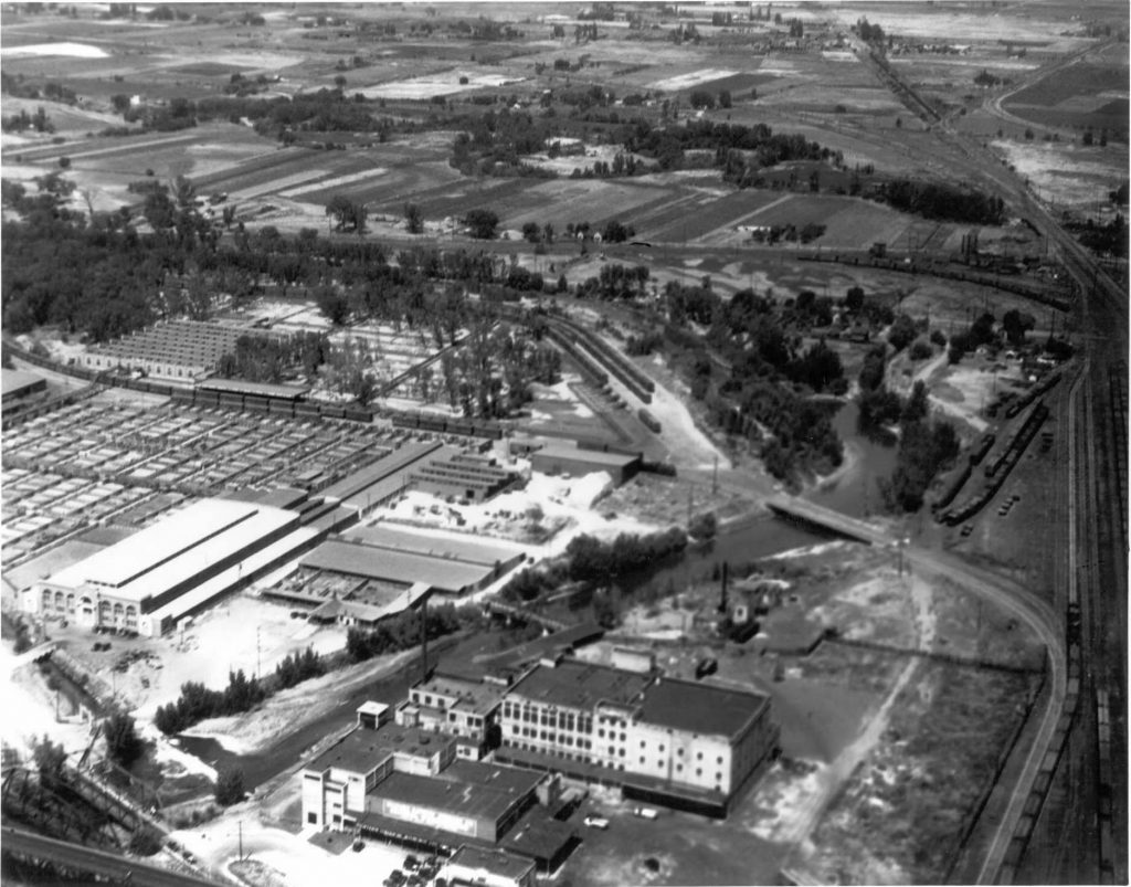 aerial view of the Ogden Union Stockyards and the American Packing and Provision Company building. Special Collections Department, Stewart Library, Weber State University