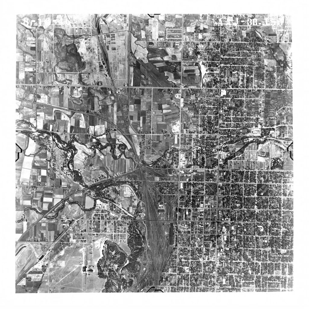 1946 aerial view of Ogden including the train yards and the Ogden Union Stockyards. Special Collections Department, Stewart Library, Weber State University