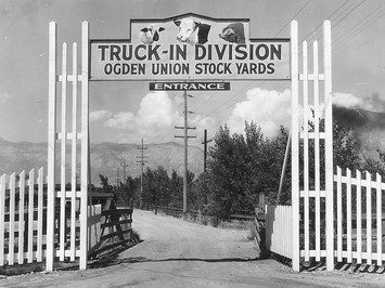 Truck-in division Ogden Union Stockyards Entrance, circa 1930 photo obtained from Don Strack