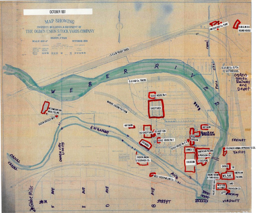 October 1931 site map showing property buildings & equipment of the Ogden Union Stock Yards Company at Ogden, Utah. Map with markings emphasized in 2017.