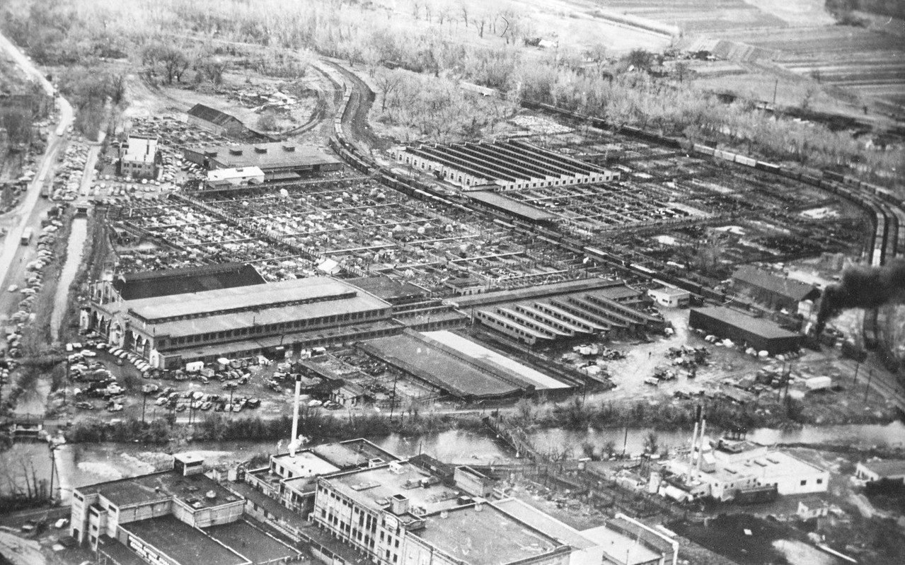 Aerial photo of the Ogden Union Stockyards 1952. Thank you to Don Strack for generously sharing this photo, part of his extensive gallery.