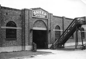 Sheep Division showing catwalk above the stockyards and stairs down to the building. Thank you to Don Strack for generously sharing this photo, part of his extensive gallery. Motorcycle parked in front of the building. Thank you to Don Strack for generously sharing this photo, part of his extensive gallery. Ogden Union Stockyards.