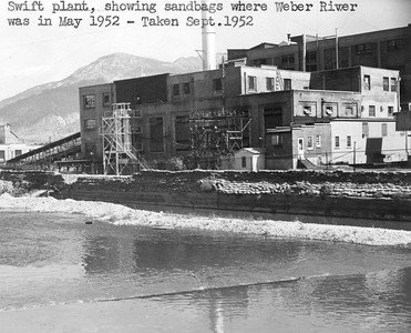 Swift plant, showing sandbags where Weber River was in May 1952 - Taken Sept. 1952. Thank you to Don Strack for generously sharing this photo, part of his extensive gallery. Ogden Union Stockyards.