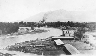 Ogden Union Stockyards site before 1915 showing the river running high, several corrals, a few outbuildings and smoke rising from a building operation in the background. Thank you to Don Strack for generously sharing this photo, part of his extensive gallery.