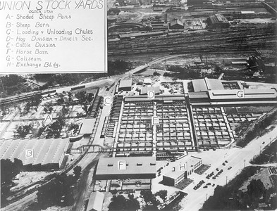 Ogden Union Stockyards aerial view with buldings labeled. Thank you to Don Strack for generously sharing this photo, part of his extensive gallery.