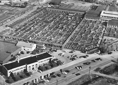 Aerial view of the Ogden Union Stockyards with Exchange Building in the foreground . Thank you to Don Strack for generously sharing this photo, part of his extensive gallery.