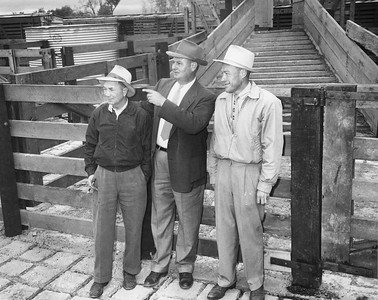 Left to Right: Red Rushton, yardmaster: R. C. Albright, manager; C. Roland Knowles, assitant manager. Image obtained from Don Strack