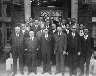 Men wearing suits and some with pocket watches outside the Ogden Union Stockyards. Directors, perhaps? Thank you to Don Strack for generously sharing this photo, part of his extensive gallery.