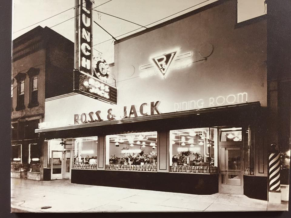 Ross & Jack Dining room - exterior of building on 25th street, midcentury with neon lights glowing. Photo obtained from Weber State University Special Collections