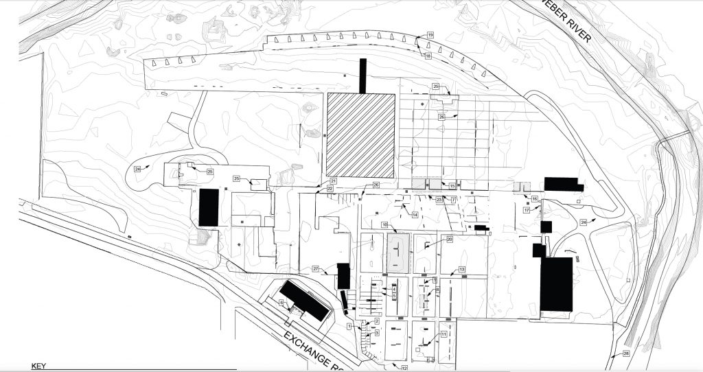 Building map included in HALS - Historic American Landscapes Survey for the Ogden Union Stockyards site, conducted by IO Design Co, Landscape Architects